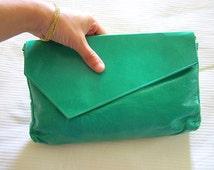 Leather Clutch Hand Bag / Italian Green Aqua Women Hand bag 1970's /