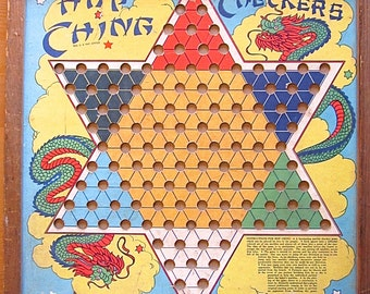 Vintage Hop Ching Checkers J. Pressman 1928 Antique Chinese Checkers