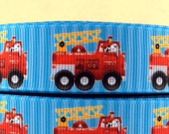 "Lot of 2 Metres of 7/8"" Grossgrain Ribbon - FIRETRUCK - For Craft"