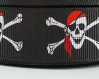"Lot of 2 Metres of 7/8"" Grossgrain Ribbon - Pirate Skull & Crossbones - Jolly Roger - For Craft"