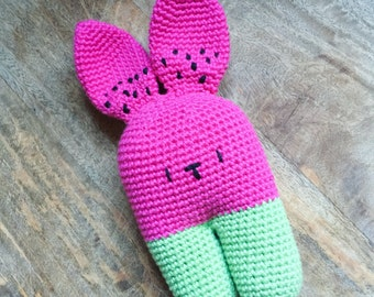 Watermelon Bunny Rabbit Toy - Made To Order - Handmade Crochet Amigurumi