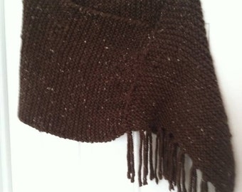 Hand Knit Poncho-Brown Twead