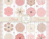 Premium Vector Floral clipart, Spring flower clipart, Pink Floral Clipart, Baby pink flower, Wedding Clip Art, Blush flower, flower