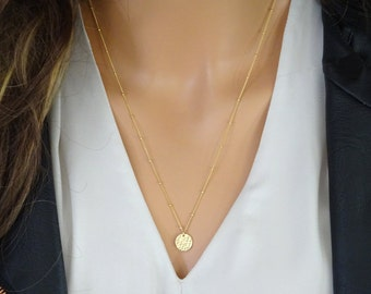 Hammered disc necklace, satellite chain necklace, circle Necklace, Beaded chain necklace, Gold Tag, Hammered disc pendant necklace