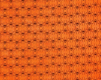 Moda Fabric ~ Basic Grey by Eerie ~ Bright Orange with Black Spiders ~ Halloween Fabric ~Autumn Fabric