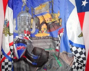 90's Indy 500 1991 100% polyester button down jacket mens size L/IRL/Brickyard/CART/Indianapolis Motor Speedway/aj foyt/Penske/retro/