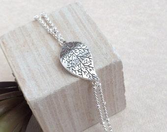 Silver Leaf Bracelet, Large Leaf Bracelet, Leaf Bracelet, Antique Bracelet,Filigree Leaf Bracelet,Boho Jewelry,Silver Double chain bracelet