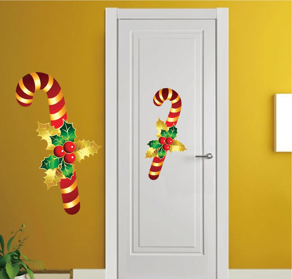 Candy cane decal candy cane wall decals candy mural for Candy wall mural