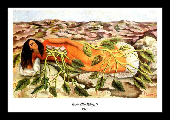 Impression De Frida Kahlo Racines Le Pedregal Print
