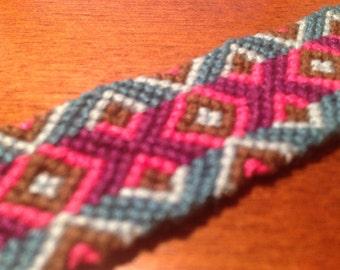 Pink-Purple-Blue-Brown Friendship Bracelet