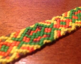 Green-Yellow-Brown-Orange Friendship Bracelet