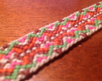 Hand-knotted brown-orange-pink-green friendship bracelet