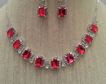 Vintage Style Ruby Red and Clear Rhinestone Necklace and Earring Set..Wedding / Prom / Formal