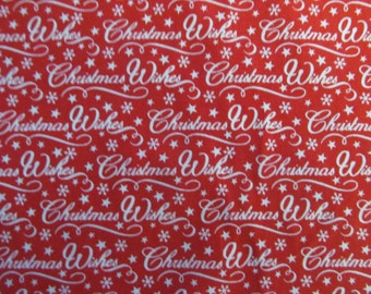 Christmas Red Christmas Wishes Polycotton Dress/Craft Fabric …