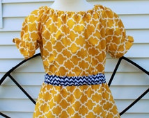 Little Girls Mustard Yellow Peasant Dress with Elastic Waist, Mustard Yellow Quatrefoil and Navy Trim, Size 24 months and 4, Ready to Ship