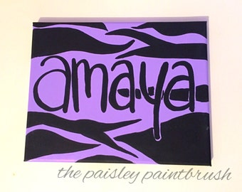 Zebra Name Canvas