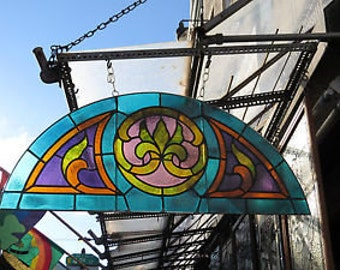 Antique Stained Glass Transom Window with Fleur de Lis