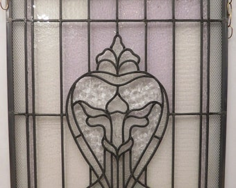 Antique Stained Glass Sacred Heart Window Circa 1890