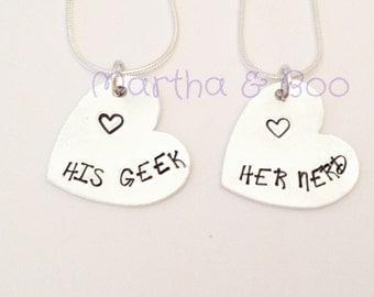 Couples necklace, his hers, pendant, geek, nerd, dork, wedding gift, engagement, custom jewellery, personalised, big bang theory, bangle