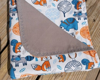 """Forest Critter Flannel Recieving Blanket - Orange, Grey, Dark and Light Blue Patterned Flannel with Grey Backing 40"""" Square"""