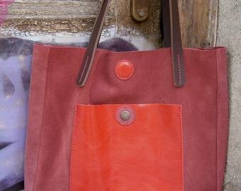 Leather suede bag Leather tote bag Leather shoulder bag Leather suede handbag