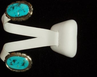 Sterling Silver Vintage Earrings with Turquoise Inlay