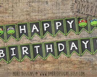 Ninja Turtle Banner, TMNT Banner, Ninja Turtle, Birthday Banner, Decorations, Party, TMNT Birthday