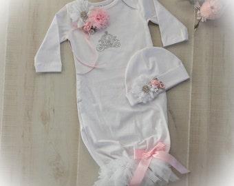 Newborn Girl Take Home Princess Outfit,, Newborn Girl Coming Home Outfit, Baby Girl Princess Layette Gown, Newborn Gown