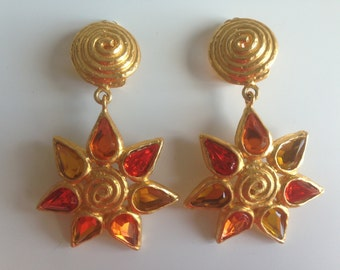 1980's Vintage Unsigned Sun Statement Earrings