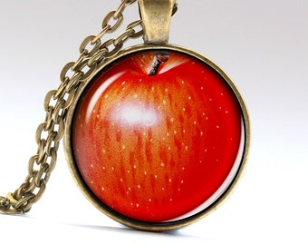 Red Apple Necklace Snow White Jewelry Fruit Pendant Necklaces Pendants Jewellery   LG472