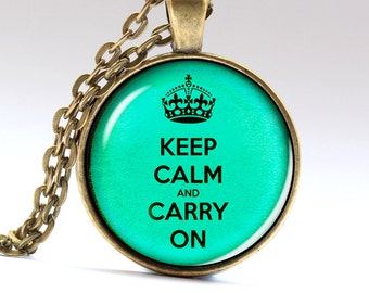 Keep calm Necklace, Carry on Pendant, Text Jewelry, Necklaces Pendants Jewellery LG503