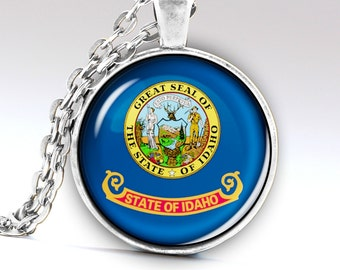 Idaho Necklace,  Jewelry,  Pendant, Idaho Amulet, Idaho Charm, Idaho Flag Necklace, Idaho Flag Pendant, Idaho Flag Jewelry, LG596