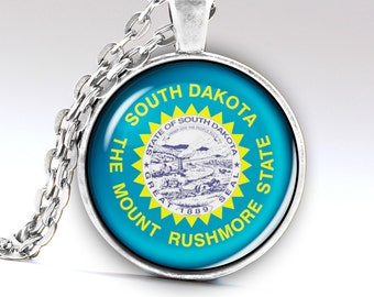 South Dakota Necklace, South Dakota Pendant, South Dakota Jewelry, South Dakota Amulet, South Dakota Charm, South Dakota State, LG627