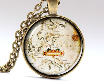 Europa Necklace, Europa Pendant, Europa jewelry, Europa map, Europa Amulet, Map Necklace, Map Pendant LG673