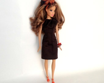 Barbie Doll Clothes, Barbie Dress, Barbie Casual Dress, Barbie Brown Dress, Barbie Bracelet, Barbie Headband, Barbie Doll, Doll Dress
