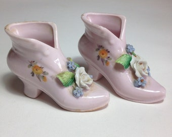 Antique Pink Ceramic Boots - Made in Germany