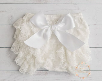 White Baby Lace Bloomer CHOOSE COLOR, baby diaper cover, white Lace ruffle diaper cover baby bloomer, baby lace diaper cover, diaper cover.