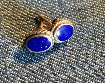 Vintage Lapis in Sterling Stud Earring