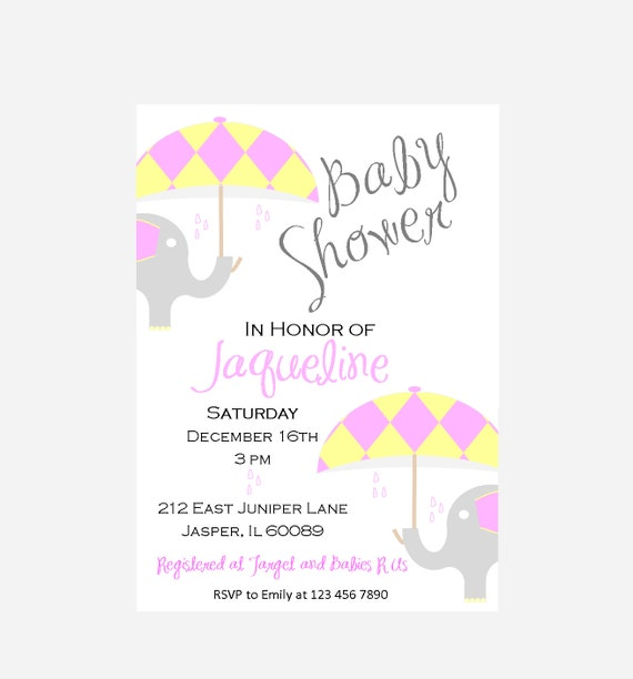 Elephant Baby Shower Invitation Yellow And Pink Baby Sprinkles