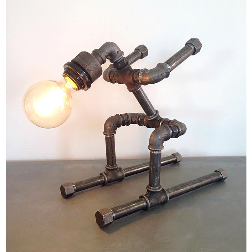 Robot Ski Table Lamp Pipe Style Edison Bulb Industrial