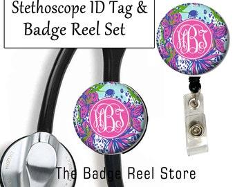 Stethoscope ID Tag, Badge Reel, ID holder, Monogrammed,  Preppy