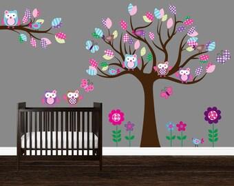 Girls Nursery decal, Owl Tree Wall Art, Baby Nursery Wall Decal, Baby Decal Nursery, Owl Wall Decal, Pattern Tree, Owl Wall Sticker