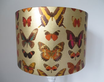 SALE -  LAMPSHADE - Drum paper shade - Butterfly, vintage, gold paper shade