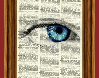 Surreal Eye (Blue) Upcycled Dictionary Art Print Poster