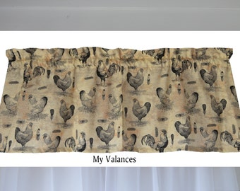 Rooster Kitchen Valance French Country Chic Window Treatment Colors Include  Black Gray Tan Beige Great For
