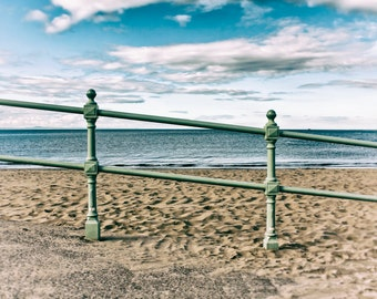 Beach photography, Wall print, Beach decor, home decor, Fine Art Photography - Portobello Beach Railing, Blue Sky