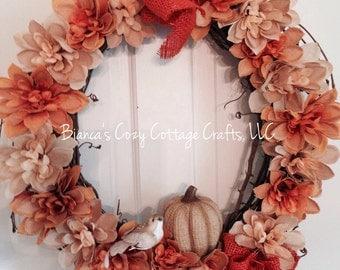 Fall wreath, autumn wreath, burlap flower wreath, grapevine wreath, pumpkin wreath, thanksgiving wreath, burlap grapevine wreath
