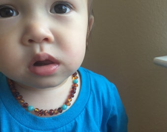 Baltic Amber Teething Necklace - POLISHED COGNAC