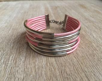 Pink Leather Bracelet, Multilayer Leather Bracelet, Leather Cuff Bracelet, Multi Strand bracelet, Leather Bangles, Leather Tube LB001268