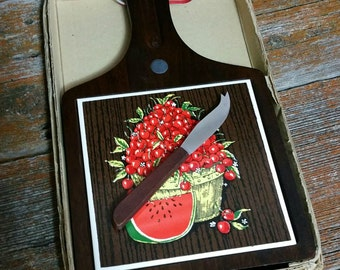 Vintage Wooden Cheese Board And Knife, Trivet Style Cheese Board,